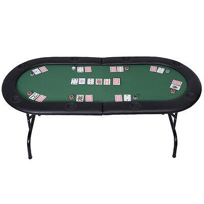 Foldable 8 Player Poker Table Casino Texas Holdem Folding Poker Play Table