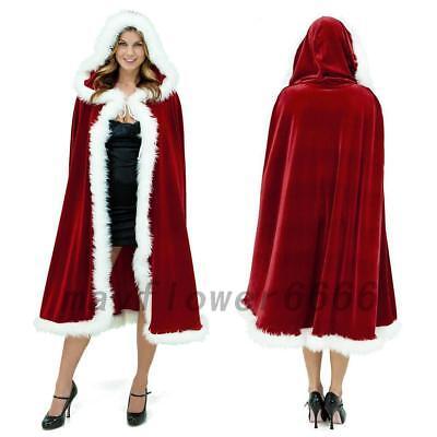 Damen Weihnachten Umhang Kostüm Santa Claus aus Samt - Roter Samt Umhang