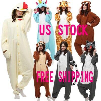 Unisex Adult Pajamas Kigurumi Cosplay Costume Animal Onesi Sleepwear Suit S M L