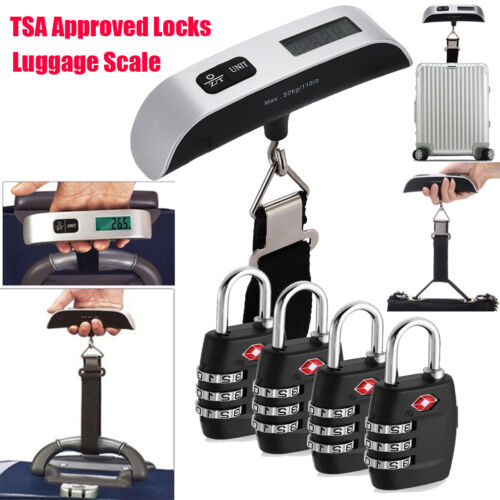 4x Travel Luggage Suitcase Bag Lock Hanging Weight Scale Combination TSA Approve