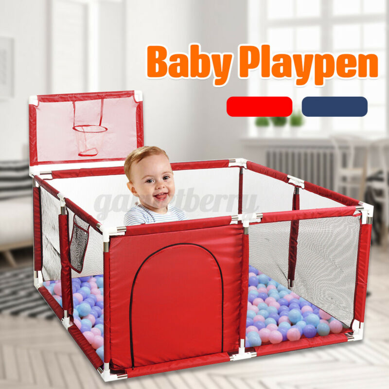 Baby Playpen Fence Folding Safety Barrier Children Playpen Game Tent 128cm USA