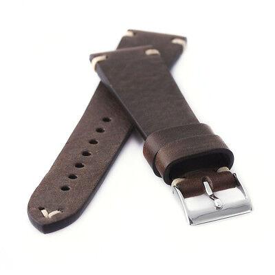 Mann Arm (Uhrenarmband Kaufmann Saddle Vintage non stitched dunkelbraun Kalb Leder Armband)