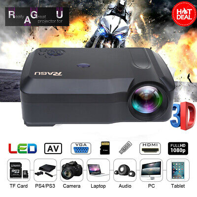 HD Projector 1080P Supported 7000 Lux Home Theater HDMI USB SD AV VGA Portable