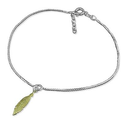 "9.5""-10.5"" Sterling Silver Box Chain Anklet with Gold Plated Feather Charm 2.2g"