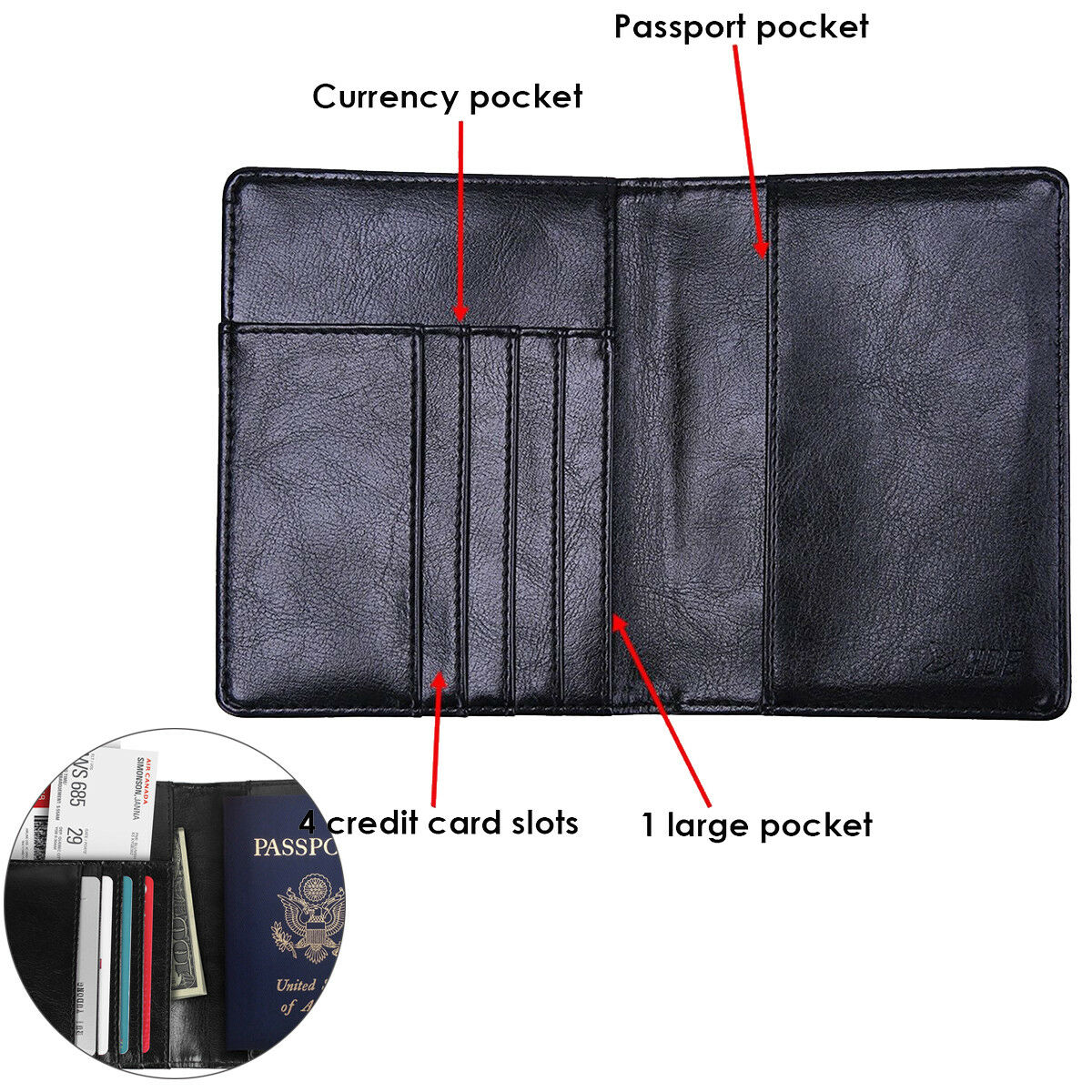 Premium Leather RFID Blocking Passport Travel Wallet Holder ID Cards Cover Case