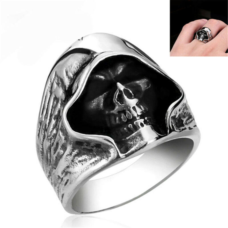 f974d924b4323 Details about Fashion Men's Silver Gothic Punk Skull Ring Biker Band Rings  Jewelry Size 8-11