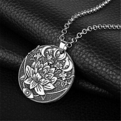 Mandala Pendant Silver Om Buddha Tibetan moon Lotus Flower Healing Cord Necklace Silver Buddha Pendant Necklace