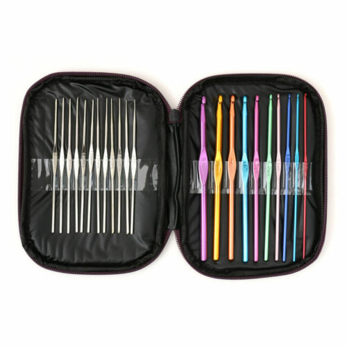 Aluminum Crochet Hooks Needles Knit 22 Pcs Set Multi Color Weave Craft Yarn