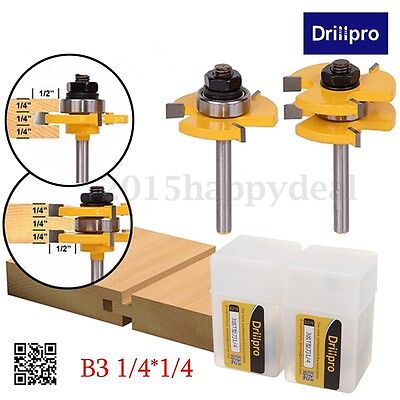 "2PCS Drillpro Tongue & Groove Router Bit 3/4"" x 1/4"" Cutter Set For Woodworking"