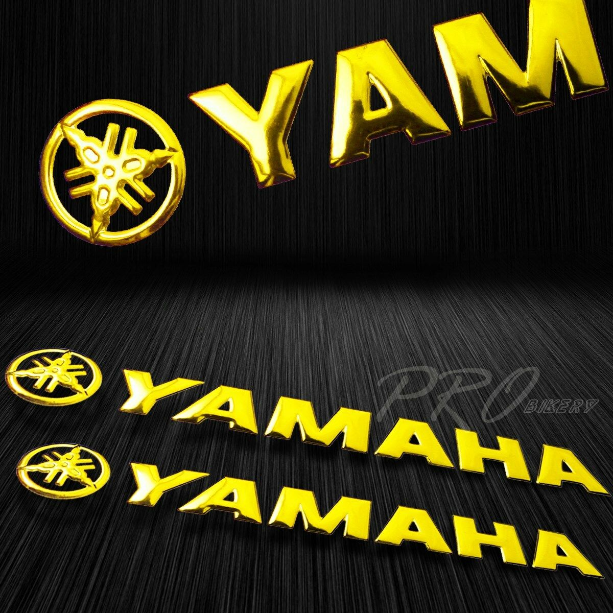 5 75 chromed logo letter decal 3d glossy fairing emblem sticker for yamaha gold