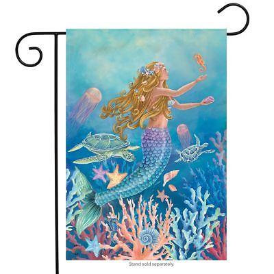 "Mermaid Summer Garden Flag Nautical Fish 12.5"" x 18"" Briarwo"