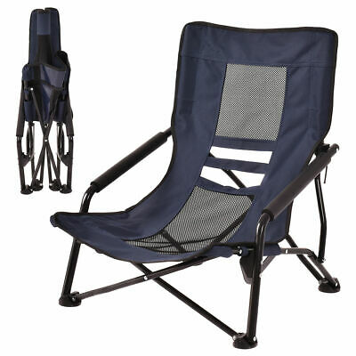 Outdoor High Back Folding Beach Chair Camping Furniture Portable Mesh Seat Navy
