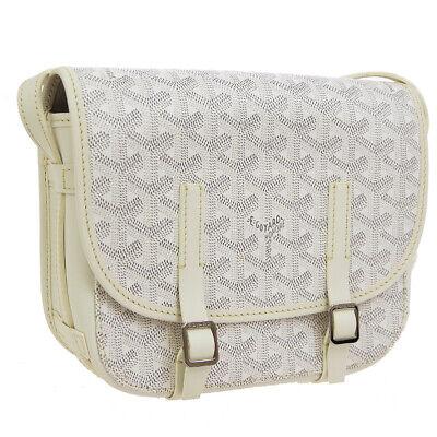 GOYARD Belvedere PM Cross Body Shoulder Bag White PVC Leather VTG AK38246h