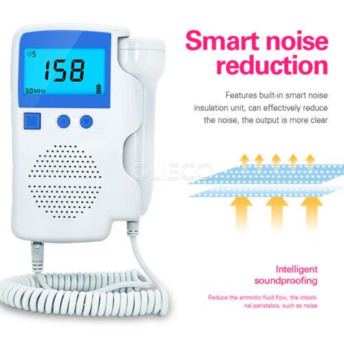 US LCD Fetal Doppler Baby Heartbeat Monitor Fetal Doppler Detector 3.0MHz CE&FDA