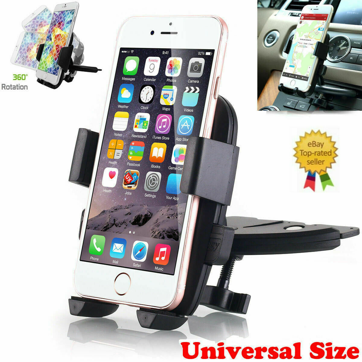 360° Car Holder CD Slot Mount Bracket For Mobile Cell Phone iPhone Samsung GPS Cell Phone Accessories