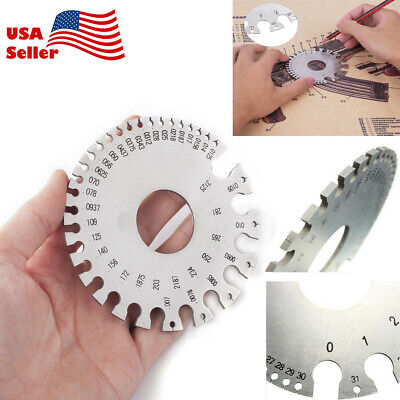 Stainless Steel Round Awgswg Wire Thickness Measurer Ruler Gauge Diameter Tool