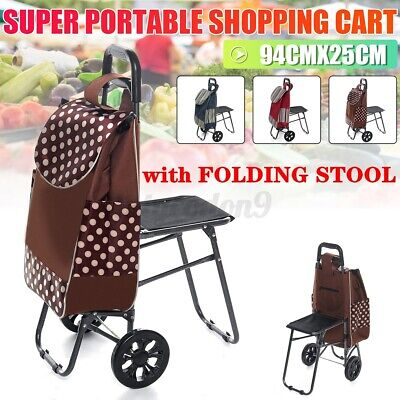 Shopping Trolley Cart Dolly With Folding Stool Portable Rolling Grocery Holder