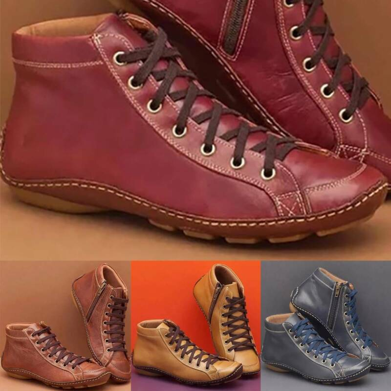 Women's Winter Arch Support Ankle Boots Casual Lace Up Flat