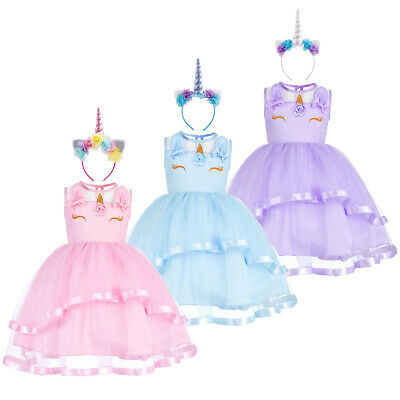 Little Big Girl Unicorn Costume Flower Tutu Dress up Pageant Birthday Halloween