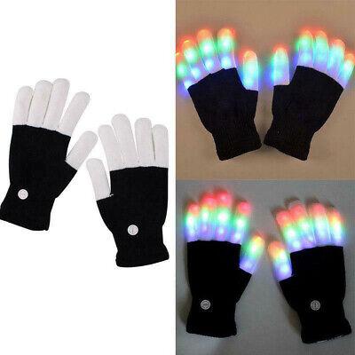 Kids/Adult 1Pair LED Rave Flashing Gloves Light Up Glow Finger Lighting party