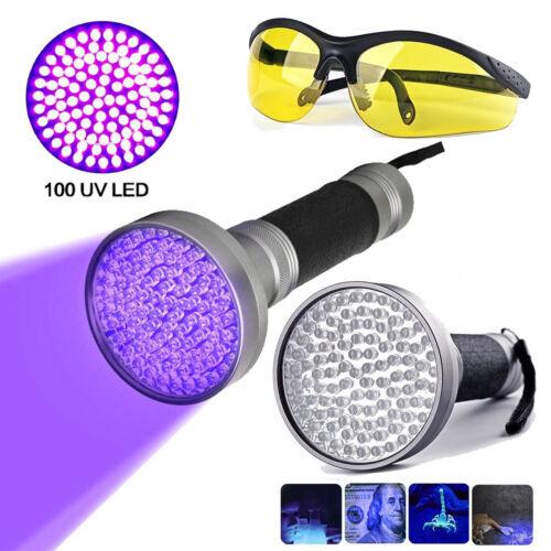 100 LED UV-Taschenlampe mit Schutzbrille F5 395nm KFZ K… |