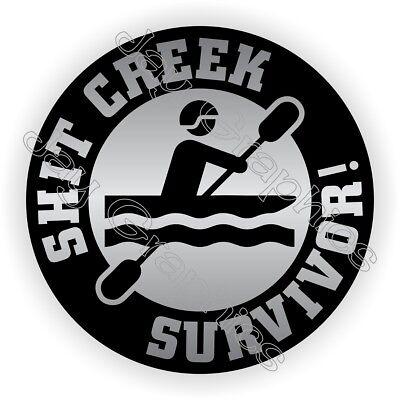 Hit Creek Survivor Funny Hard Hat Sticker Motorcycle Helmet Decal Survival