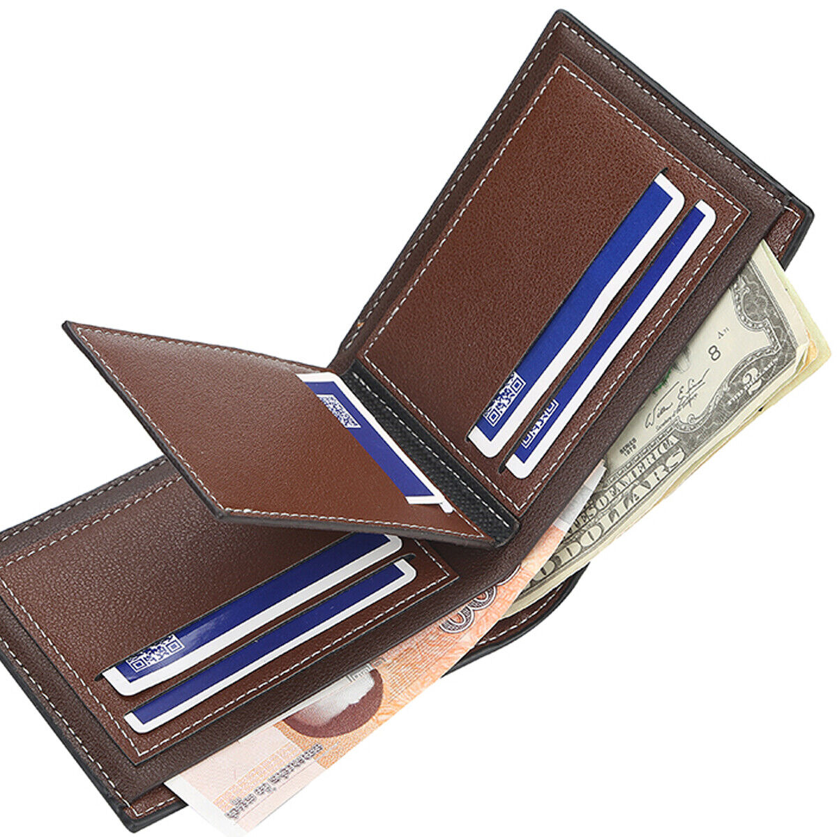 Men's Leather Bifold ID Card Holder Purse Wallet Billfold Handbag Slim Clutch US Clothing, Shoes & Accessories