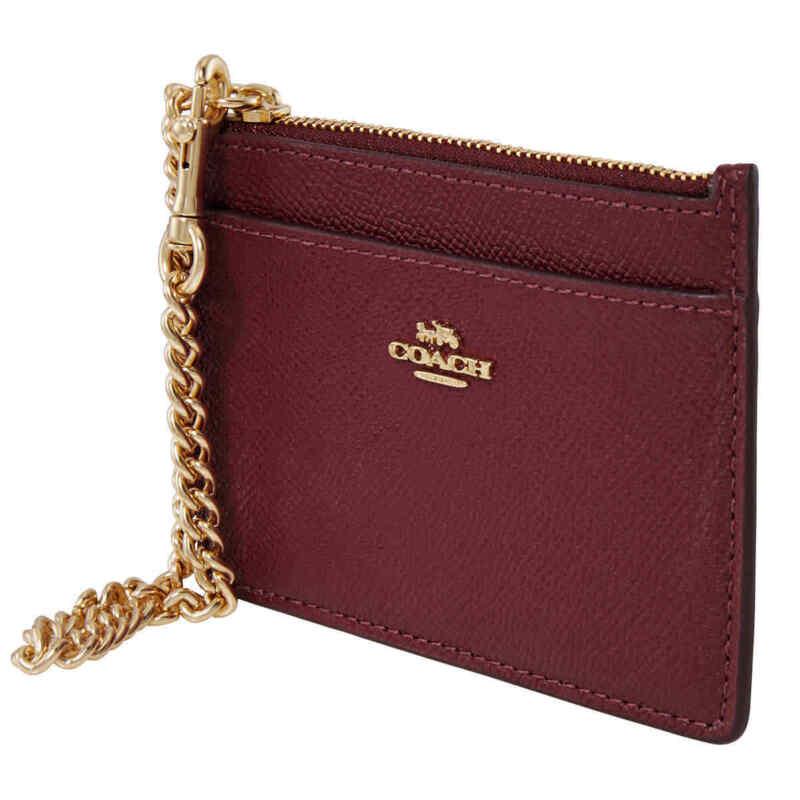 Coach Ladies Chain Card Case In Deep Red 76539 GDDPR