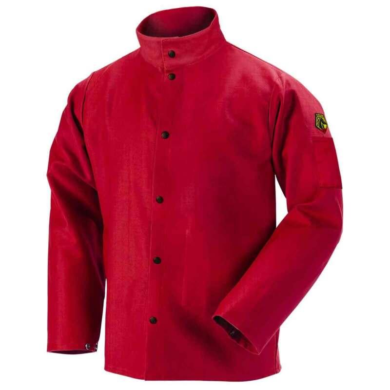 Black Stallion FR9-30C TruGuard 200 FR Cotton Welding Jacket, Red, Large