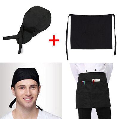 Half Short Waist Apron With Pocket Kitchen Catering Chef Hats Baker Waiter Caps