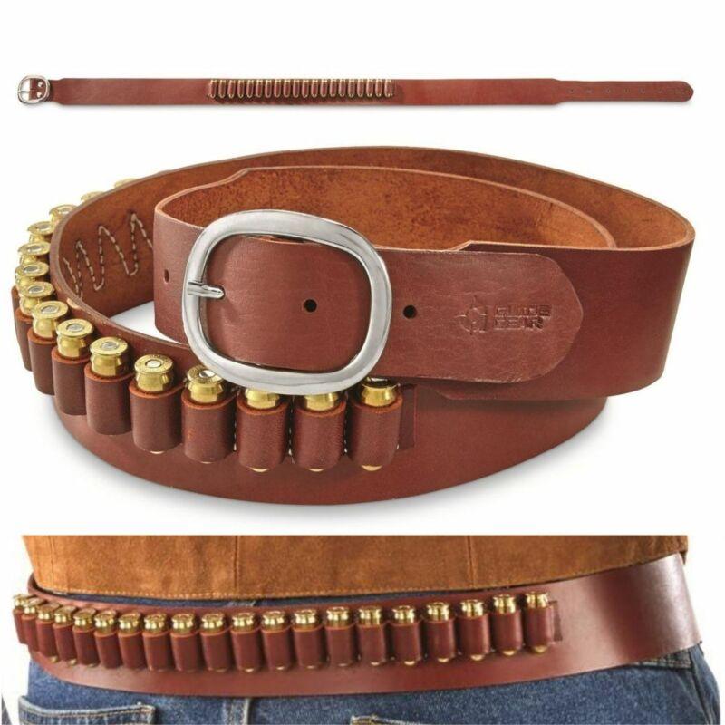 LEATHER CARTRIDGE BELT 20 LOOP L 2XL 3XL 44 Magnum 45 ACP Durable Storage Shoot
