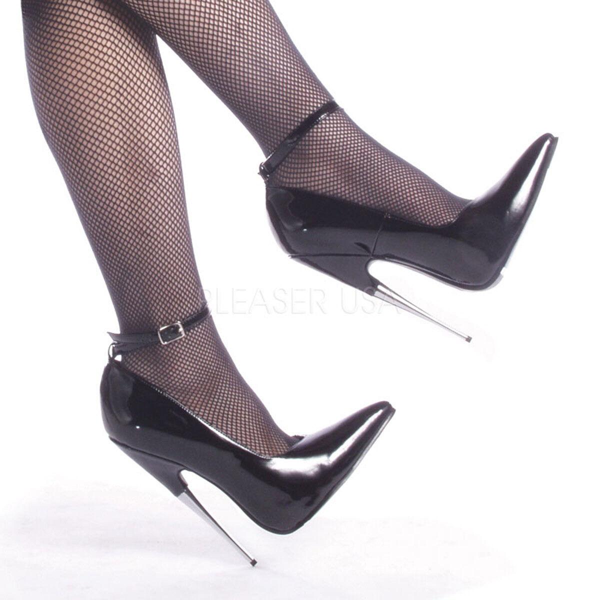Devious SCREAM-12 Single Soles Black Patent Ankle Strap Stiletto Pump High Heels