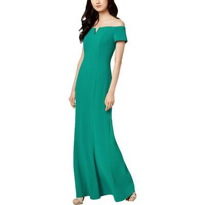 Calvin Klein Womens Green Notched Off-The-Shoulder Formal Dress Gown 4 BHFO 2167
