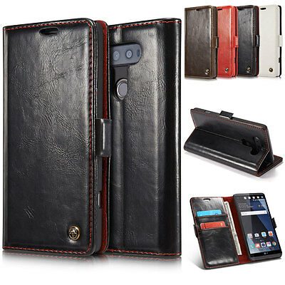 For LG V20 V10 Slim Card Pocket Wallet Flip Leather Stand Shockproof Case Cover