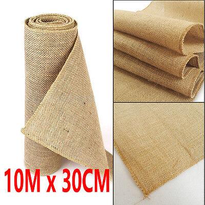 10M x 30CM Hessian Table Runners Hessian Roll Fabric Burlap Jute Rustic Wedding