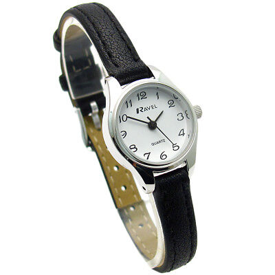 Ravel Ladies Small Neat Easy Read Quartz Watch Black Strap White Face R0124.13.2
