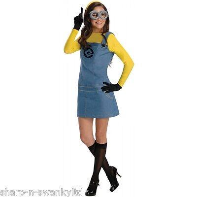 Minion Halloween Outfits (Ladies 5 Piece Despicable Me Minion Halloween Fancy Dress Costume Outfit UK)