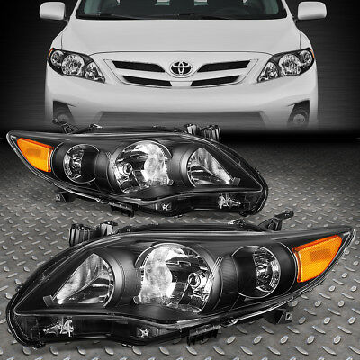FOR 2011-2013 TOYOTA COROLLA PAIR BLACK HOUSING AMBER CORNER HEADLIGHT/LAMP SET