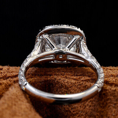 2.60 Ct Round Cut Cushion Halo Split Shank Diamond Engagement Ring I VS1 GIA 3