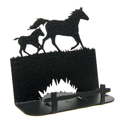 Mare Foal Horse Black Metal Business Card Holder