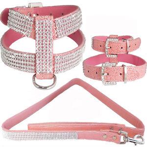 Large Pink Crocodile Leather Bling Rhinestones Dog Harness & Leash Combo Set