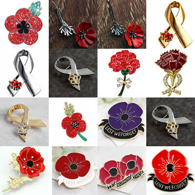 Womens Red Poppy Brooch Pin Crystal Badge Broach Poppies Remembrance Day