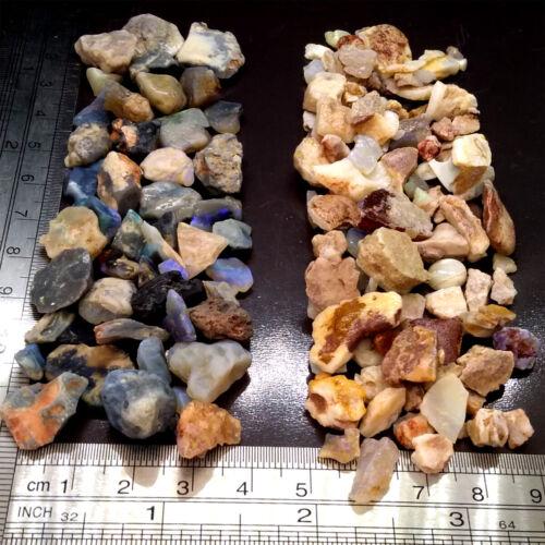 2oz Half & Half Lightning Ridge & Mixed Mines Rough Opal Chips & Snips