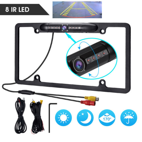 12V Car Rear View Backup Camera 8 IR Night Vision US License Plate Frame CMOS
