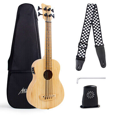 Electric Bass Ukulele Solid Wood with Gig Bag Tuning Wrench Humidifier Bamboo