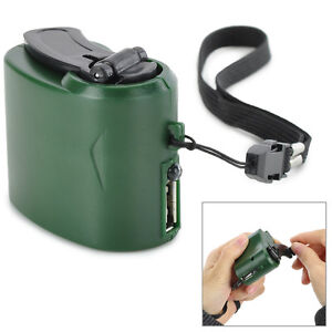 SURVIVAL DYNAMO HAND CRANK EMERGENCY USB CELLPHONE CHARGER WITH Green LED