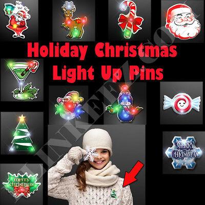 CHRISTMAS HOLIDAY Flashing LED Light Up Blinky Body Light Pins Jewelry - 12 PCS