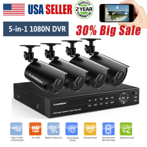 4CH 1080P CCTV DVR NVR Home Outdoor Security IP Camera Syste