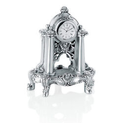 Italian Hand Made Silver Resin Table Clock Vase And Flowers Style