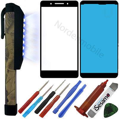 Huawei Honor 7 Front LCD Display Glas Scheibe Schwarz + UV LICHT LAMPE + LOCA ()